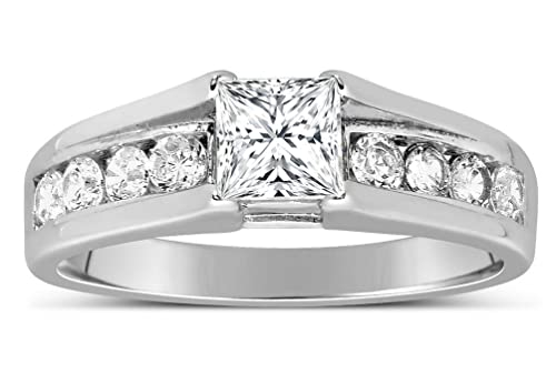 c61bea16a5aac Perfect Half Carat Princess diamond Engagement Ring in White Gold ...