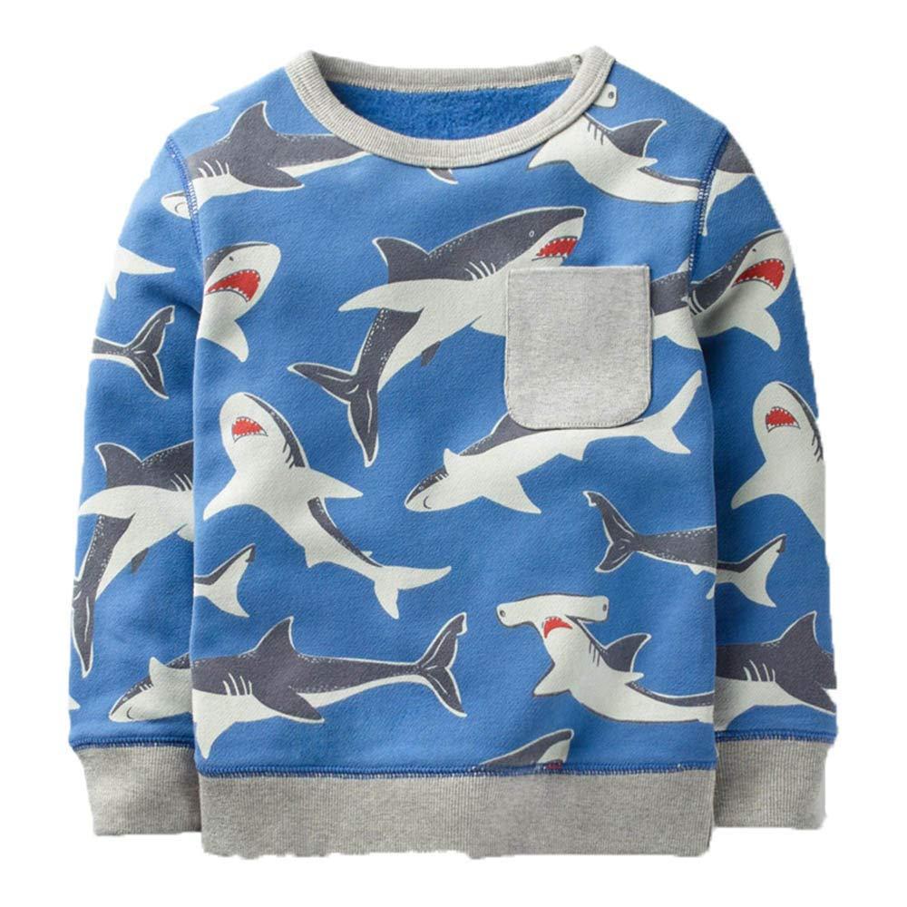 KIDSALON Little Boys' Cotton Crewneck Long Sleeve Cartoon Top/T-Shirt (4T, Sharks)