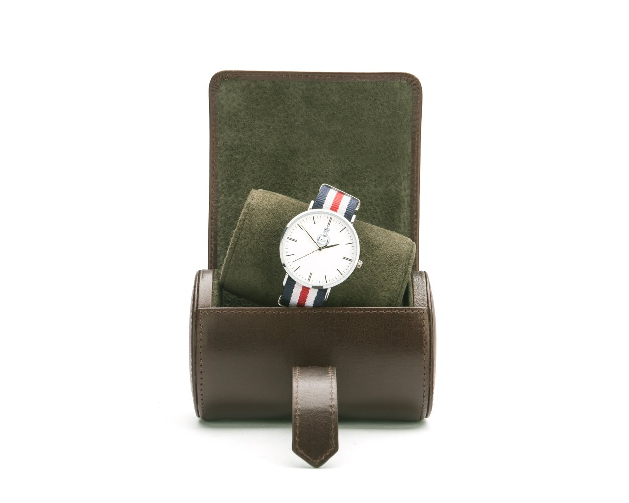 SAGEBROWN Brown With Green Small Watch Roll