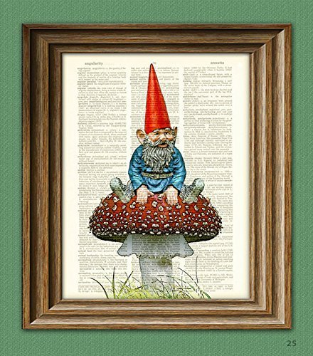 Old Garden Gnome chilling on a toadstool illustration beautifully upcycled dictionary page book art print ()