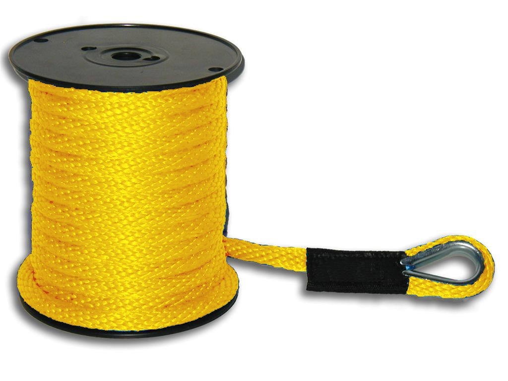 1/2'' x 50' Yellow Solid Braid Nylon Anchor Line w/ Thimble - Made in USA by Mad Dog