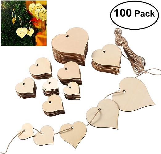 ULTNICE Recortes de madera del coraz/ón que cuelgan el ornamento con el tama/ño 4CM los 5CM 6CM 8CM los 10CM 100pcs de la guita de 10M