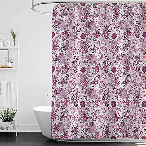 Shower Curtains for Bathroom with Cats Purple,Scales Swirls and Hearts in Romantic Depiction of Nature with Birds and Flowers,Mauve Plum Pink W72 x L84,Shower Curtain for Kids