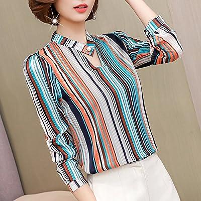 XXIN La Bande Verticale Blanche Shirt Girl /V Pour La Neige Lumineuse Soie Tissée Shirts Fleur Lâche T-Shirt T-Shirt /Xl/ Bleu