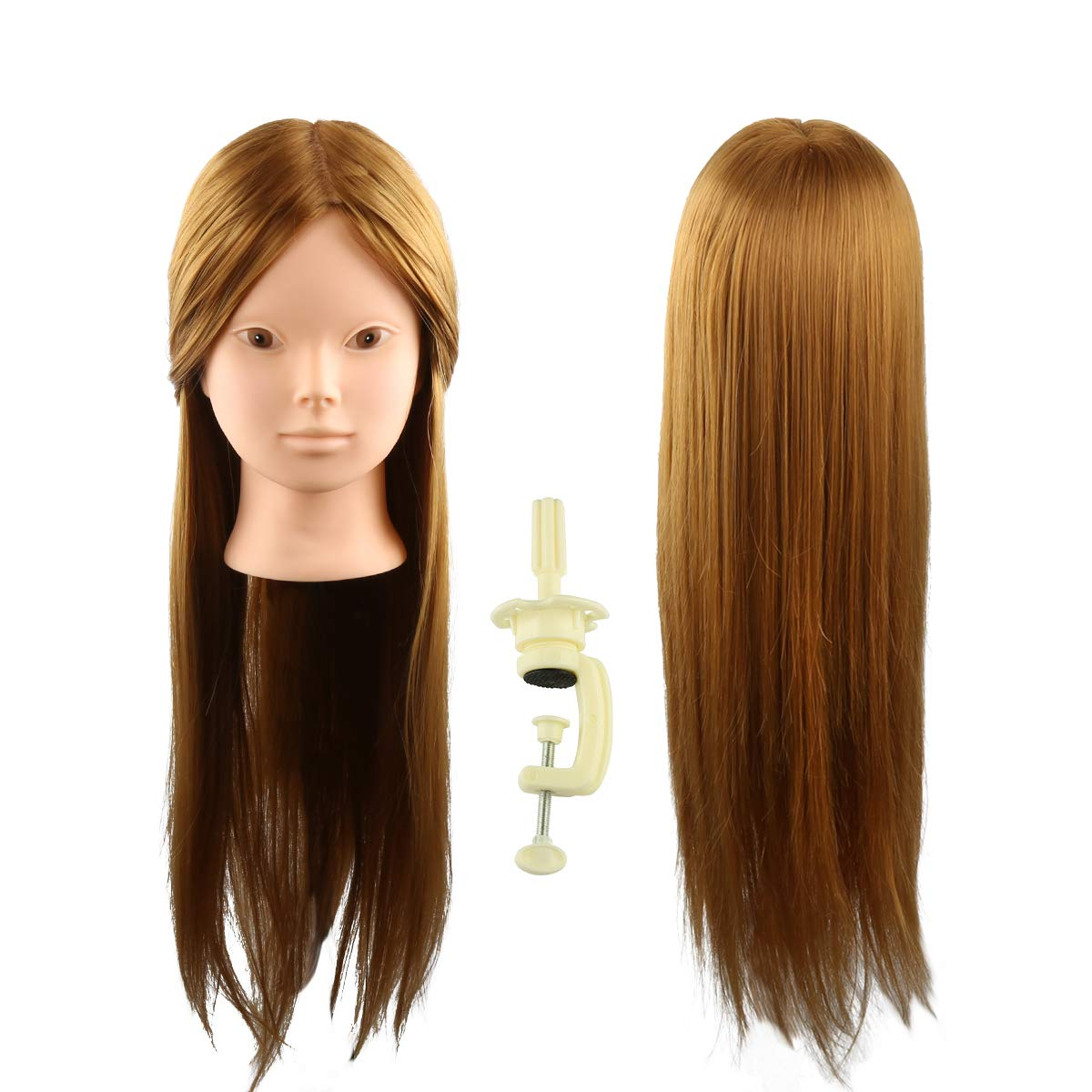 24 Head Mannequin for Makeup Face Painting Practice with 50% Real Human Hair, Cosmetology Hairdressing Training Braiding Doll Head Manikin Head with Free Table Clamp Stand (Brown) Coastacloud