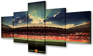 Framed Wall Art Work Home Walls Old Trafford Manchester Stadium Pictures Manchester United Paintings 5 Piece Canvas Artwork Home Decor for Living Room Ready to Hang Posters and Prints(50''Wx24''H)