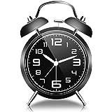 目覚まし時計 GogoTool 4インチ アナログ おしゃれ 大音量 置き時計 ベル 電池式 明かり 光る 針時計 アラーム