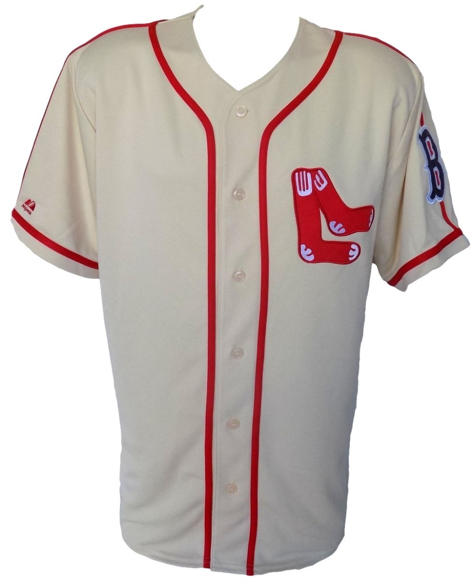Sports Integrity 16019 Boston Sox Majestic Cooperstown Collection Cream Jersey44; Red - Medium