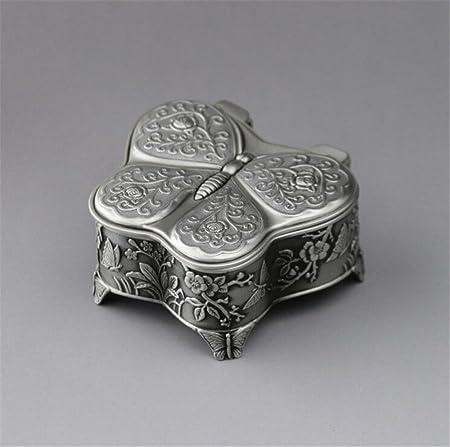 biscount envejecido Vintage Emboss manivela Caja de música caja Musical de arte, Europea de mariposa Metal Mini Musicbox para decoración del hogar, oficina Decor, regalo de cumpleaños, aniversario de boda regalo: Amazon.es: