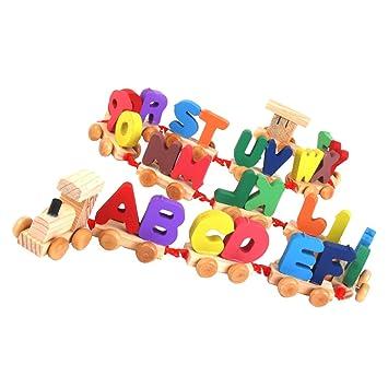 Letras Madera Juguete Para Educativo Juego Bebé Tren Niños EbeI2DH9YW