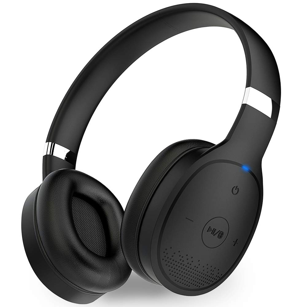 1Mii Long Range Bluetooth 5.0 Headphones with aptx Low Latency, Bluetooth Headphones for TV Watching, Wireless On Ear Headphones with Mic, Deep Bass, 24 Hours Playtime for PC, Cell Phones - Black