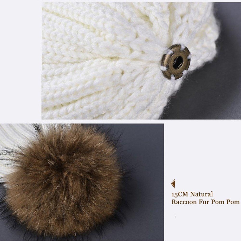 FURTALK Winter Knit Hat Real Raccoon Fur Pom Pom Womens Girls Warm Knit Beanie Hat