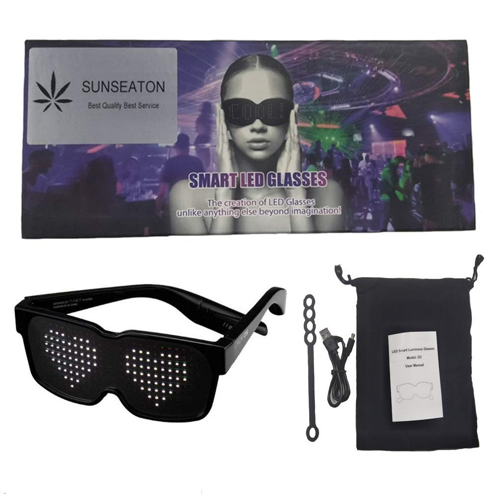 SUNSEATON LED Party Glasses, Fancy LED Light up Glasses with 8 Modes Quick Flash, Rechargeable and Work for 10 Hours, for Nightclubs, DJ, Concert, Halloween, Birthday Parties