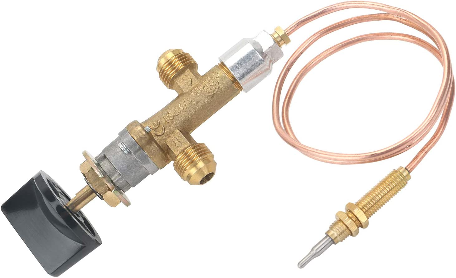 """STYDDI LPG Propane Gas fire Pit Control Safety Valve with Thermocouple Heater Flame Failure Control Parts for Low Pressure Application, 3/8"""" Flare Inlet and Outlet"""