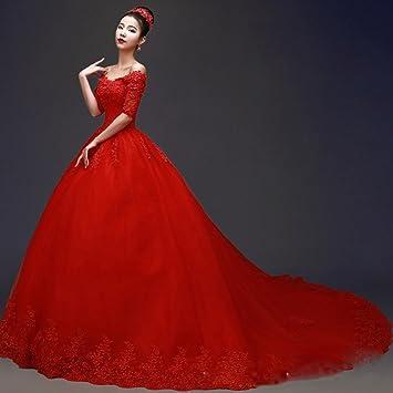CXY A Word - Vestido de novia para boda, color rojo, manga coreana de