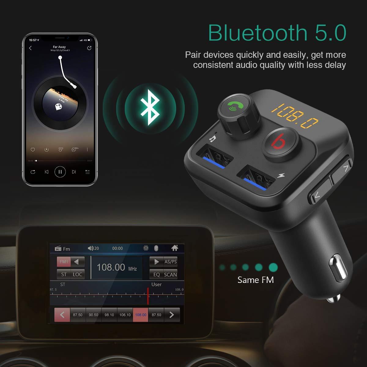 ORIA Bluetooth FM Transmitter 1.8 Farbbildschirm QC 3.0 KFZ Auto Radio Adapter Freisprecheinrichtung mit 2 USB Ladeger/ät Flexibel Schwanenhals Car Kit Unterst/ützt USB//TF Carte//Aux /& EQ Mode