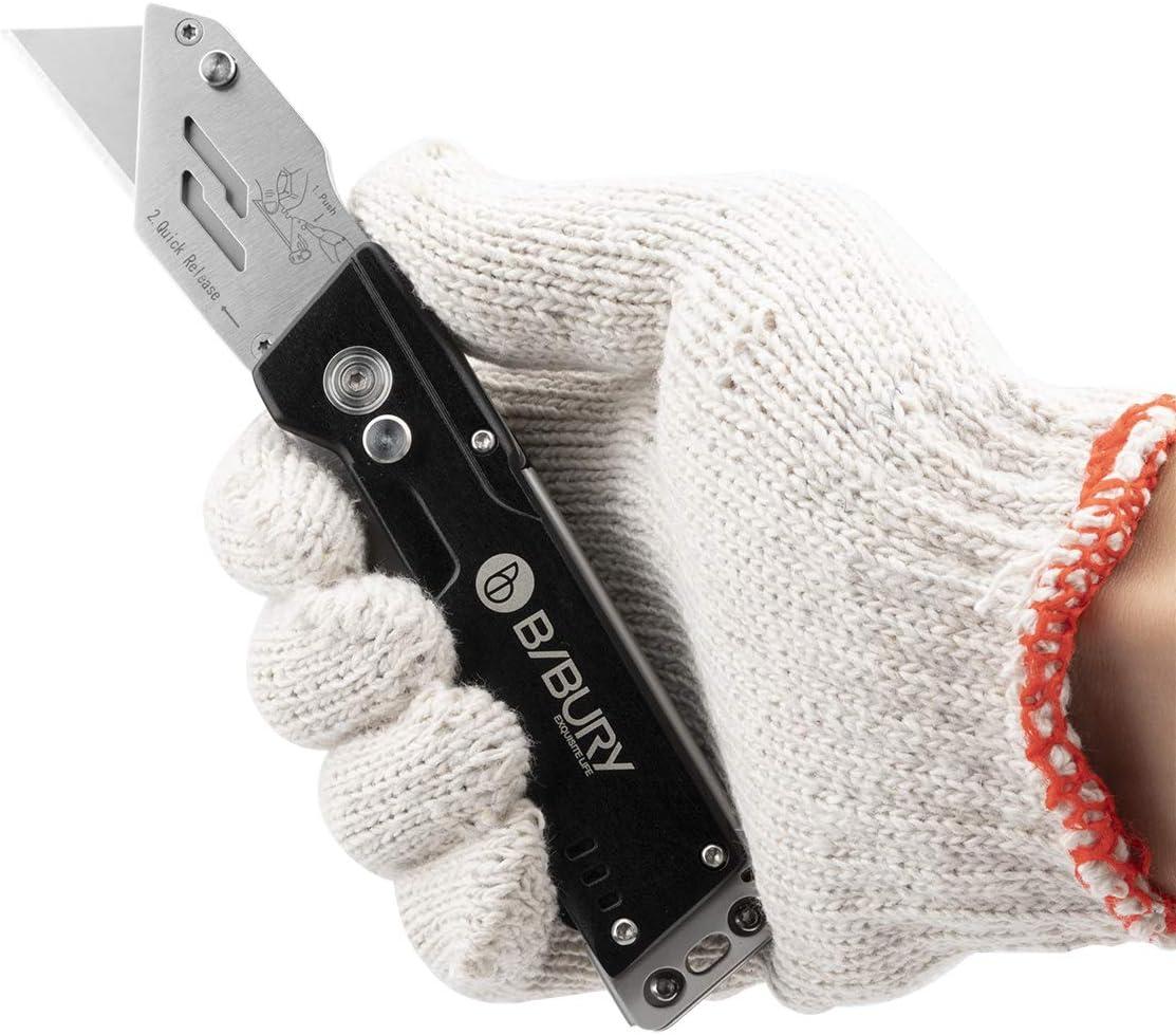 Portabel Teppichmesser Profi BIBURY Cuttermesser Faltbares Universalmesser mit 15 Extra SK5 Edelstahlklingen und Klingenaufbewahrung Universal-Klappmesser Metall f/ür Teppich Karton und Tapeten