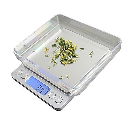Báscula digital de cocina pequeña para alimentos, báscula compacta de peso, de acero inoxidable