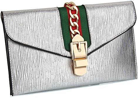 Black EROUGE Designer Evening Envelope Clutch Bags Leather Cross Body Bag Wristlet Purse with Adjustable Strap