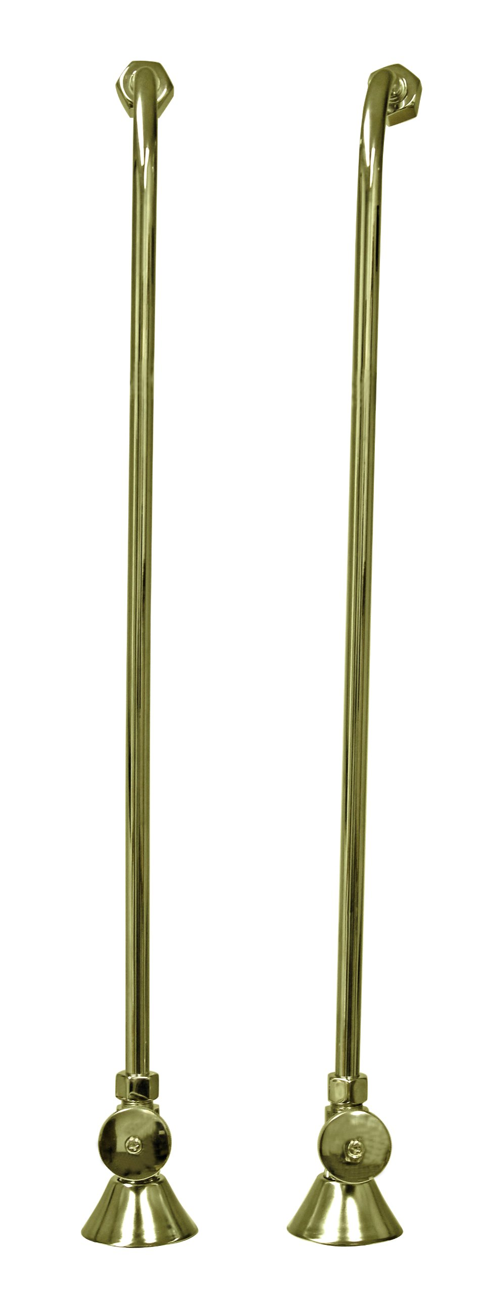 Westbrass 1/2'' IPS Stops & Single Offset Bath Supply with Round Handles, Polished Brass, D135-108-01 by Westbrass (Image #3)