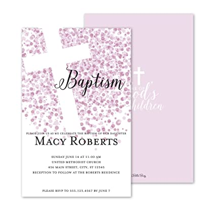 amazon com confetti dots personalized baptism invitation pink