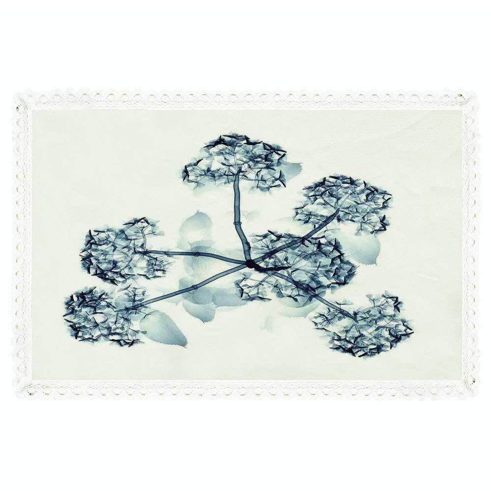 Xray 花柄 長方形 ポリエステルリネン テーブルクロス/イラスト 咲き乱れる 透明フラワー X線 自然の光景 太陽化プリント/ディナーキッチン ホームデコレーション 55インチx72インチ ティールホワイト 60
