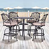 iPatio Athens 5 Piece Bar Set 42 Inch Round Bar Table (Small Image)