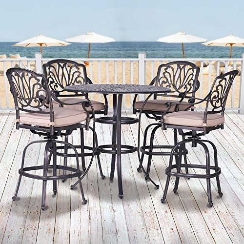 iPatio Athens 5 Piece Bar Set 42 Inch Round Bar Table (Large Image)