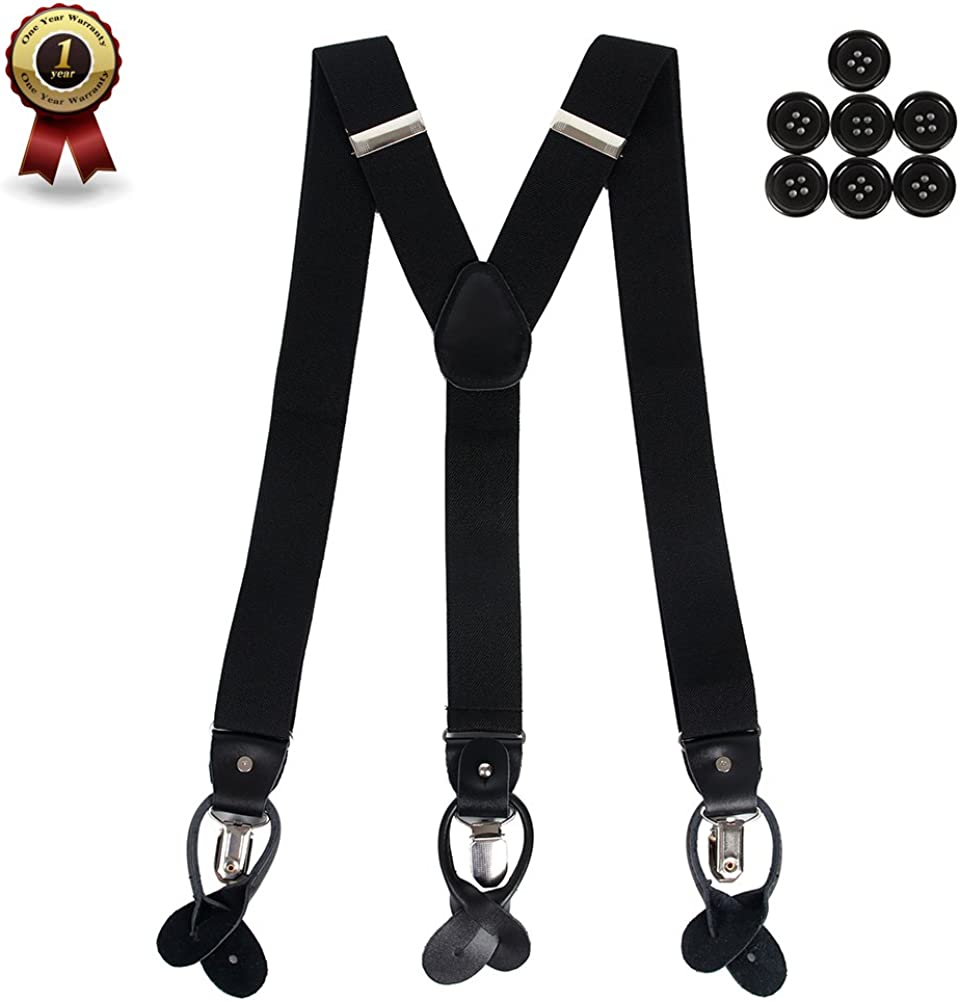Mens Y Back Suspenders with Strong Clips/&Leather Joint/& Button End Strap/& Heavy Duty