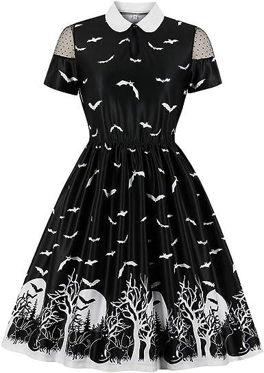 CLOOM Vestido Retro de Halloween en Mujer Gato Bate Impresión ...