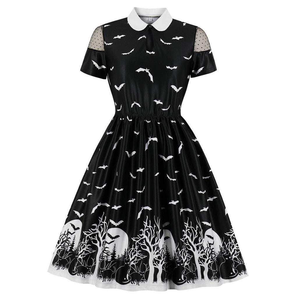 Women Hepburn Spider Print Trim Swagger Skirt Round Collar Retro Dress Black by F_topbu women dress