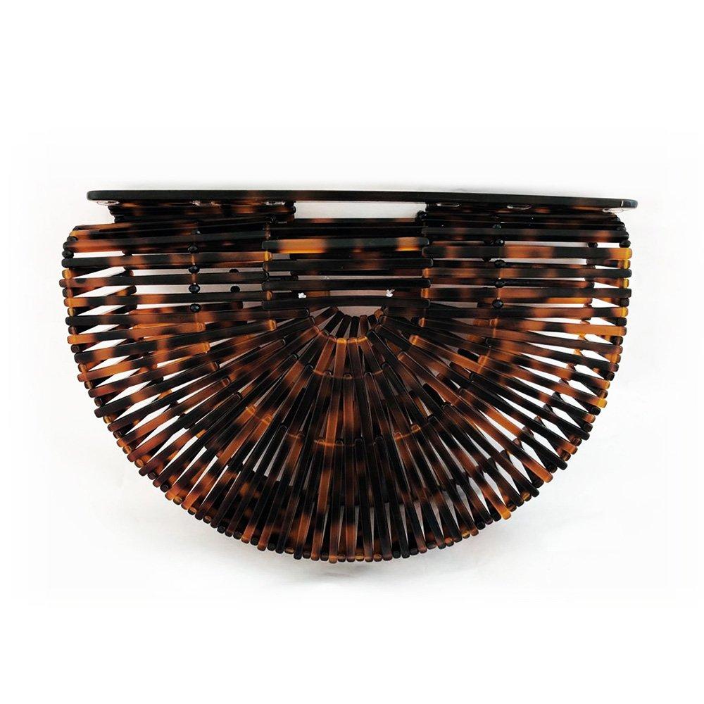 Womens Ark Bamboo/Acrylic Clutch Handbag Large Tote Bag Beach Bag (Tortie)