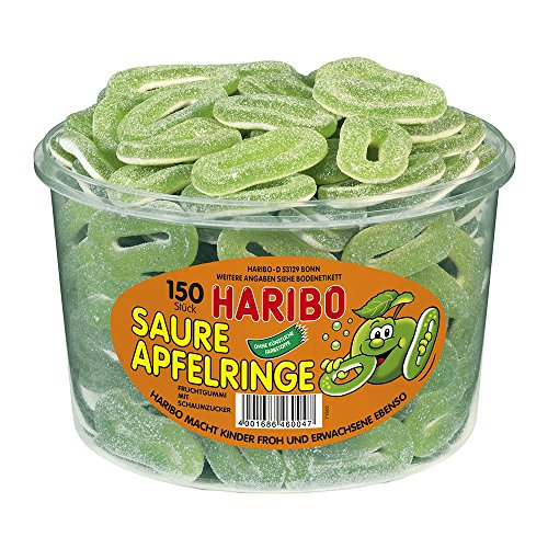 Haribo Saure Apfelringe ( Sour Apple Rings ) Tub -150 pcs