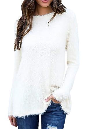 03fe180f2 Tricot Pull Femme Elégante Confortable Doux Mohair Pullover Mode ...