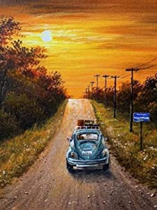 DIY 5D Diamond Painting Kit for Adults and Kids,Full Drill Arts Craft Canvas,Crystal Rhinestone Embroidery Paint for Home Wall Decor and Special Gift, A Car on a Country Road