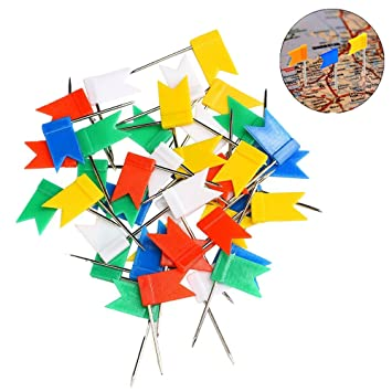 Posan 100 Pieces Assorted Color Flag Shape Push Maker Drawing Pins