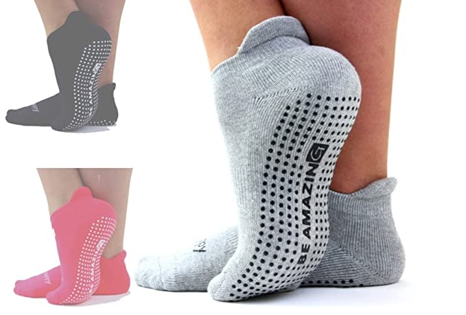 """Be Amazing"", Pack of 1, Repose Grey, Non-Skid, Barre, Pilates, Yoga, Labor and Delivery Socks, Non Slip, Grip Socks"