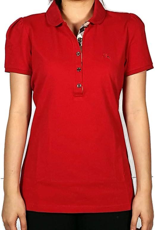 Burberry Brit Mujer Nova Check cuello Peter Pan Militar rojo Polo de ...