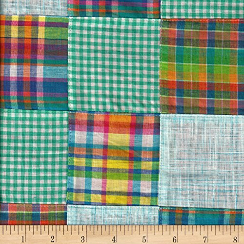 Cotton Patchwork Madras Teal Fabric By The (Seersucker Patchwork)