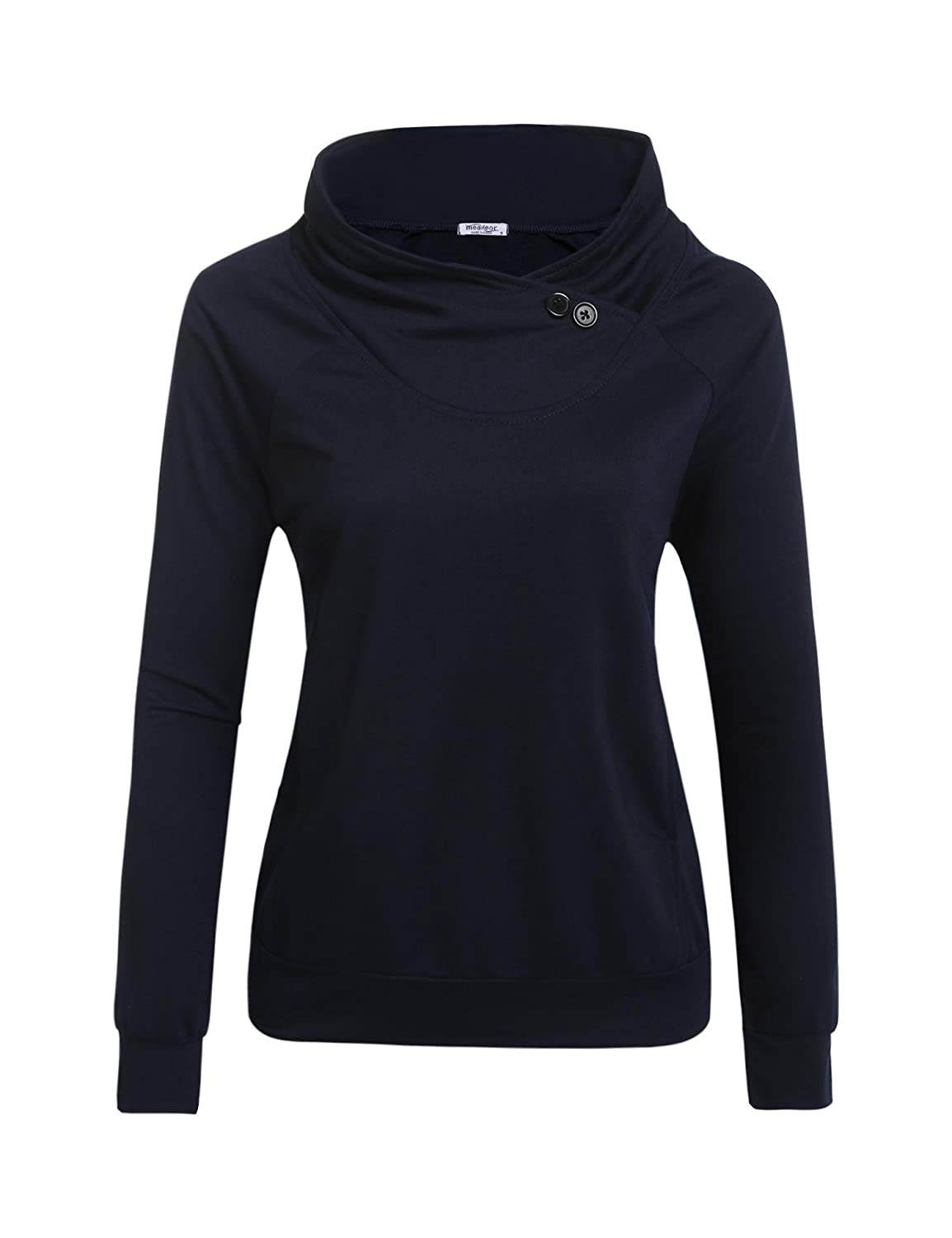 MYEDO Women Fashion Cowl Neck Long Sleeve Solid Button Pockets Tops Fashion Hoodies