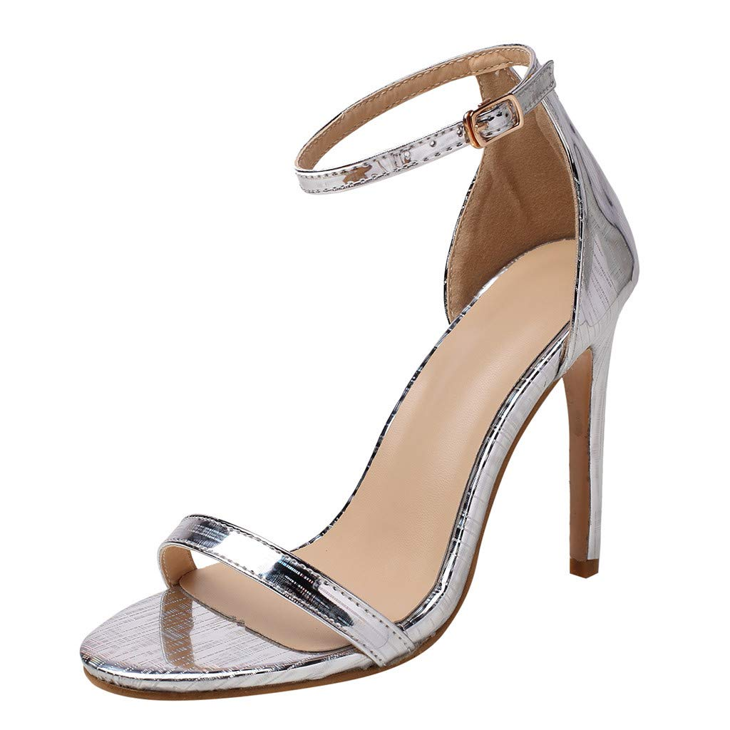 Selomore Women's Prom Shoes Strappy High Heel Formal Wedding Party Evening Sandals (Silver,US: 6)