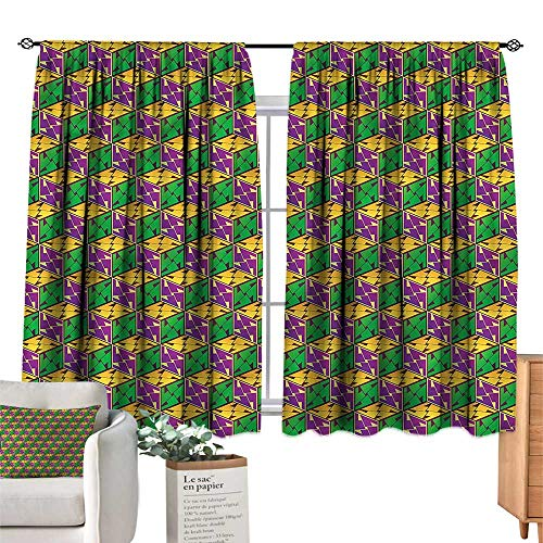 Mannwarehouse Decor Curtains Abstract Geometric Cube Square W63 xL72 Suitable for Bedroom,Living,Room,Study,etc.