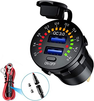 Auto Schnellladegerät Qc 3 0 Dual Usb Steckdose Autoladegerät Farbe Digital Voltmeter On Off Schalter 12v 24v Für Autos Yachten Lkw Motorräder Auto