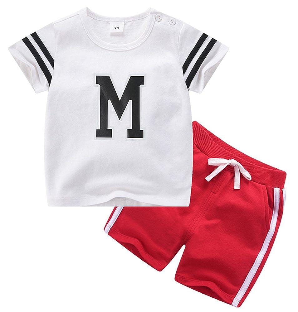 Boy Letter Print Flowing Comfortable Cozy Athletic Short Clothing Set