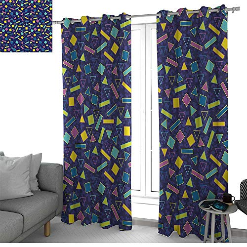 (NUOMANAN Curtains 84 inch Length Funky,Retro 80`s Memphis Fashion Style Vibrant Triangles Squares Rectangles Hipster Pop,Multicolor,Modern Farmhouse Country Curtains)