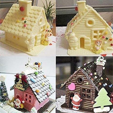 Lypulight 3d DIY Forma de Casa de Navidad de Silicona Molde para Tartas Fondant Molde Chocolate Jelly Candy Molde de Horno para DIY Cake Bake Ware Molde de ...