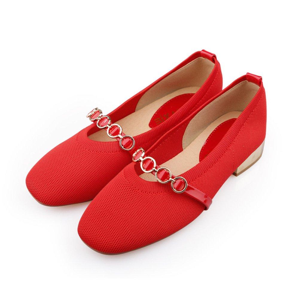 SBL der Quadratische Kopf des Herbstes Flacher Mund, der mit Strickwaren Strickwaren mit der Retro- Art und Weise beiläufigen Schuhen der Niedrigen Ferse der Niedrigen Metallschnalle Stark ist,Rot,39 - 49b6b3