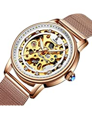 Bestn Wristwatches Women's Skeleton Crystal Auto Mechanical Rose-gold Mash Band Watch