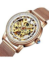 Bestn Women's Self Winding Wristwatches Skeleton Crystal Auto Mechanical Watch Mesh Watch Band(Rose Golden)