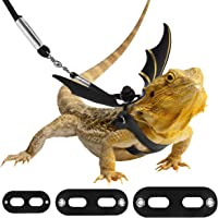 Pawaboo Reptile Bearded Dragon Harness Leash 3 Size, Premium Leather Adjustable Outdoor Harness Leash with Bat Wings for Lizard Reptiles Amphibians Small Pet Animals, Small/Medium/Large, Black + Gold